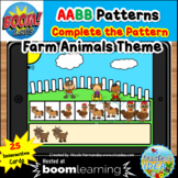 Complete the Pattern Boom Cards™- AABB Pattern (Farm Anima
