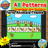 Complete the Pattern Boom Cards™- AB Pattern (Farm Animals