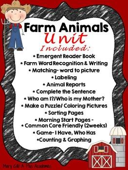 Kindergarten - First - Second - Farm Animals Bundle