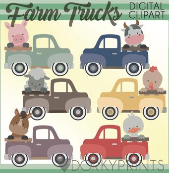 Farm Animals Vintage Truck Clipart