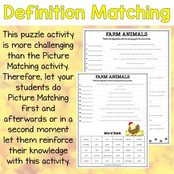Farm Animals ESL Activities Picture and Definition Matching Puzzles
