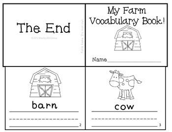 Farm Animals Vocabulary Writing Practice Reader Mini Book