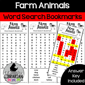 Farm Animals Word Search Bookmarks for Spring Farm Animals Unit
