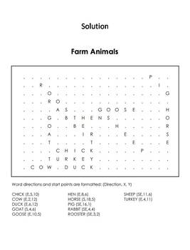 Farm Animals Word Search Coloring Sheet