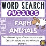 Farm Animals ESL Activities Word Search Puzzles