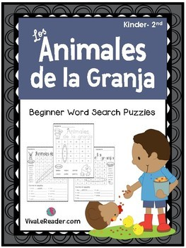 Farm Animals Word Search Puzzles in Spanish/ Animales de la Granja