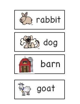 Farm Animals Word Wall