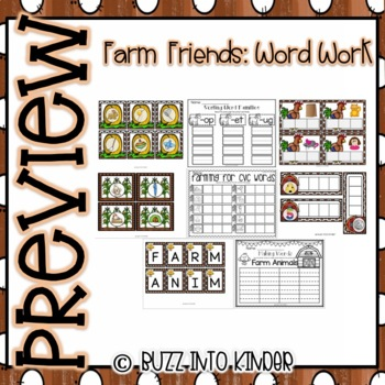 Farm Animals Word Work for Kindergarten