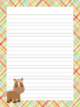 Farm Animals Writing Paper - 3 Styles - ( 7 1/2 x 10 )