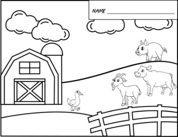 Farm Animals - Writing Paper and Coloring Sheet
