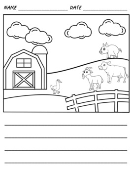 Farm Animals Writing Paper And Coloring Sheet By Red Headed Teacher