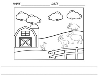 Farm Animals Writing Paper and Coloring Sheet