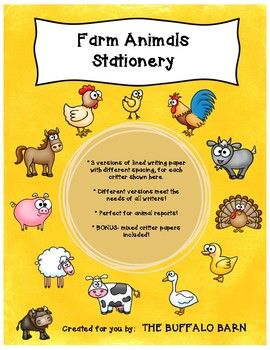 Farm Animals Writing Paper