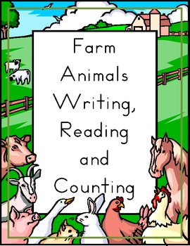 Farm Animals in English Writing, Reading and Counting Worksheets