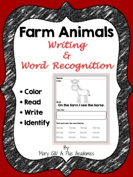 First / Second Grade - Farm Animals Word Recognition and Writing