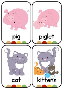 Farm Animals and Objects Flash Cards
