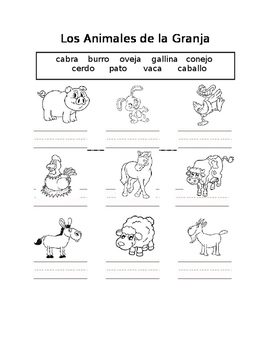 Farm Animals in Spanish Animales de la Granja