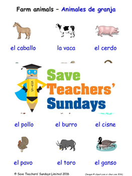 Farm Animals in Spanish Worksheets, Games, Activities and Flash Cards