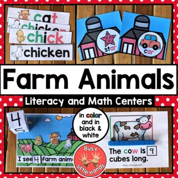 Farm Animals Literacy and Math Centers for Preschool and Special Education