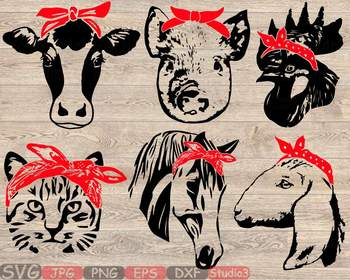 Farm Animals whit Bandana Silhouette SVG cow horse cat goat kitty pig cock 849S