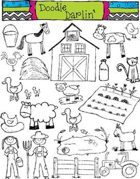 Farm BLACK & WHITE Clipart Set