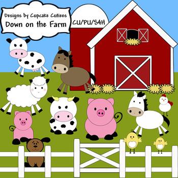 Farm Barn Down on the Farm Digital Clip Art Set