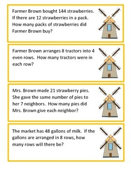 Farm Bean Bag Toss: Division Word Problems and Computation (Question Set A)