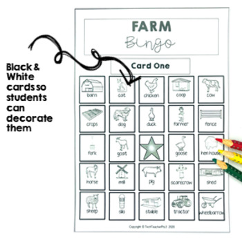 Farm Bingo Game - a great way to build vocabulary $1 DEAL