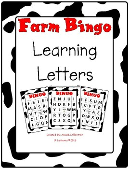 Farm Bingo Letter Naming Letter Sound