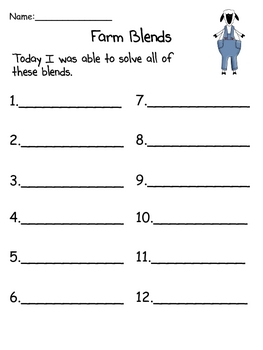 Farm Blends - A Write the Room and Sorting Activity for Blends