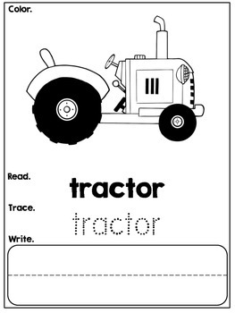 Kindergarten Farm Emergent Reader with Tracing