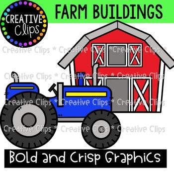 Farm Buildings and Tractors {Farm Clipart}
