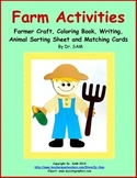 Farm Activities: Craft, Coloring Book, Writing, Animal Sort, Matching Cards