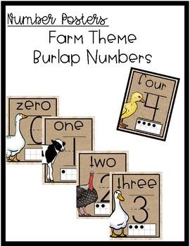 Farm Burlap Number Posters