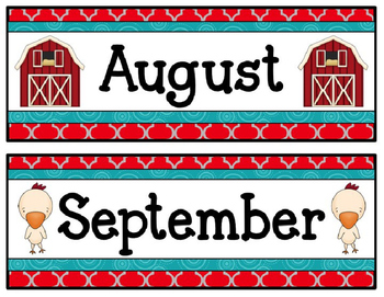 Farm Calendar Pieces and Nametags