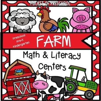 Farm Math and Literacy Centers for Preschool, Pre-K, and Kindergarten