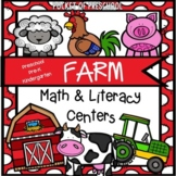 Farm Math and Literacy Centers for Preschool, Pre-K, and K