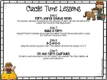Farm Circle Time Unity and Math and Literacy Centers
