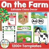 Farm Theme Decor   Farmyard Animals   Editable Classroom Decor   Back to School