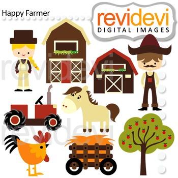 Farm Clip Art - Farmer, Barnyard - digital clipart