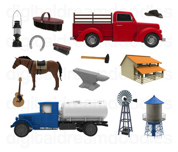 Farm Clip Art - Farmer Truck and Farmhouse Digital Graphics