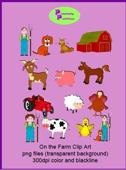 Farm Clip Art color and blackline PNG files