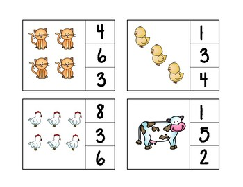 Farm Clip and Count Numbers 1-10