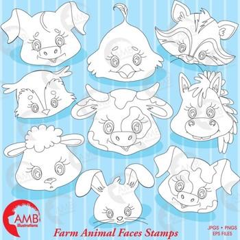 Farm Clipart, Animal Faces Clipart,  { Best Teacher Tools } AMB-1547