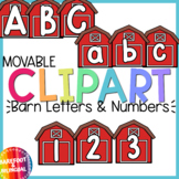 Farm Clipart - Barn Letters and Numbers - movable