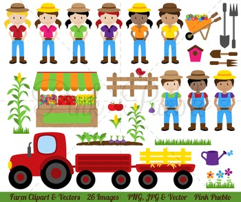 Farm Clipart Clip Art, Farmer Clipart Clip Art - Commercial and Personal Use