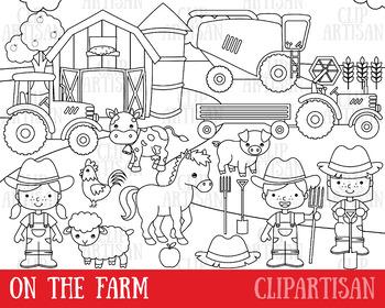 Farm Clipart, Digital Stamps