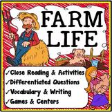 Farm Activities {Close Reading, Writing, Vocabulary & Games}