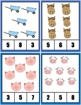Clothespin Task Card Number Activity - Farm Theme