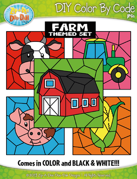 Farm Color By Code Clipart {Zip-A-Dee-Doo-Dah Designs}